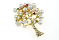 Brosa, copacul vietii cu cristale si perle, 45x36mm - x1