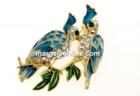Brosa, papagali cu cristale, 46x38mm - x1