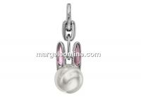 Swarovski, Bubbly Bunny key ring, white pearl, 22.5mm - x1