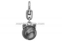 Swarovski, breloc Kitty Cat, dark grey pearl - black diamond,  11mm - x1