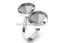 Ring base, 925 silver, for 2 fancy rivoli 4122, 14x10mm, adjustable, - x1