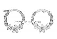 Earring findings flowers, 925 silver- x1pair