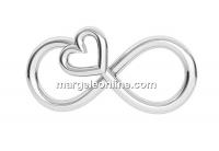 Link, infinity, heart, 925 silver, 16mm - x1
