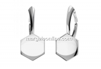 Earring click, base, 925 silver, for 10mm Swarovski 4683 - x1pair
