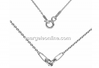 Chain for link, rhodium plated 925 silver, 45cm - x1