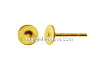 Earring findings, tray 4mm, gold plated 925 silver - x1pair