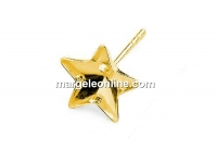 Earring findings, gold plated 925 silver, bar, for Swarovski star 10mm - x1pair