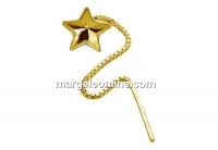 Earring findings, gold plated 925 silver, chain, for Swarovski star 10mm - x1pair