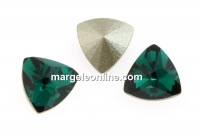 Swarovski, fancy rivoli kaleidoscope triangle, emerald, 6mm - x2