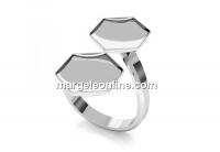 Ring base, 925 silver, for 2 Swarovski 4683, 10mm - x1