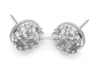 Earrings base, for ceralun and crystals, 925 silver, 10.5mm - x1pair