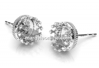 Earrings base, for ceralun and crystals, 925 silver, 8.5mm - x1pair