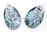Swarovski, drop pendant, aquamarine silver patina, 16mm - x1