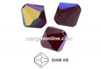 Preciosa, bicone bead, siam AB, 4mm - x40