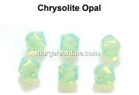 Preciosa, bicone bead, chrysolite opal, 4mm - x40