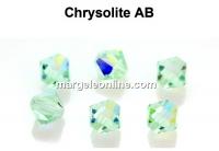 Preciosa, bicone bead, chrysolite AB, 4mm - x40