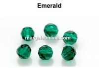 Preciosa, faceted round bead, emerald, 4mm - x10