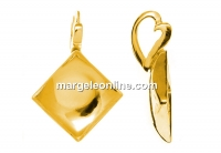 Pendant base, gold plated 925 silver, for 2493 square cabochon 10mm - x1