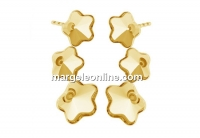 Earring base, gold plated 925 silver, fancy flower 6mm and 10mm - x1pair