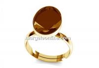 Ring base, gold plated 925 silver, adjustable, 4122 fancy rivoli 14x10mm - x1