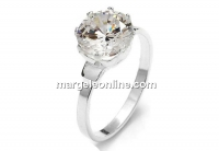 Ring base, with 9mm zirconia crystal, 925 silver, inside 16.1mm - x1