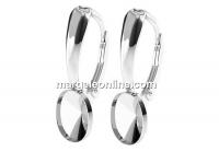 Earring findings, 925 silver, 4122 fancy rivoli 8x6mm - x1pair