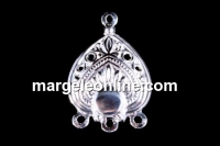 Baza chandelier inima 22x14mm - cabochon rotund 4mm - x2