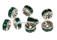 Swarovski, spacer, placat rodiu, emerald, 6mm - x2