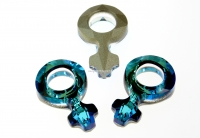 Swarovski, fancy pendant, simbol feminin, bermuda blue, 18mm - x1