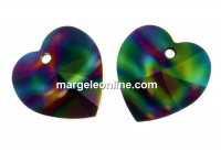 Swarovski, pandantiv inima, rainbow dark, 18mm - x1