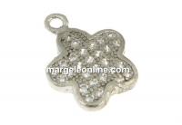 Pandantiv floare cu cristale, argint 925 placat cu rodiu, 12mm - x1