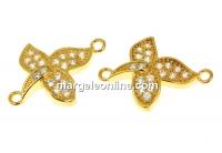 Link orhidee cu cristale, argint 925 placat aur, 15mm - x1