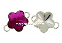Baza link argint 925, rivoli floare Swarovski 10mm - x1