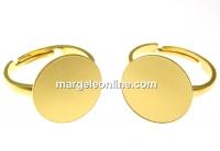 Baza inel argint 925 placat cu aur, platou 15mm, reglabil- x1