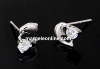 Tortite cercei delfin cu cristal, argint 925 rodiat, 14mm - x1per