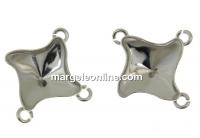 Baza link argint 925 rodiat, romb pt Swarovski 4485 de 10.5mm - x1