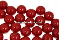 Perle Swarovski cu un orificiu, red coral pearl, 8mm - x2