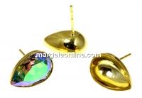 Tortite cercei ag 925 pl cu aur, pt Swarovski 4320 de 14x10mm - x1per