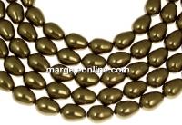 Margele Swarovski perle picatura, antique brass, 11x8mm - x2
