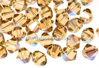 Swarovski, margele bicone, light colorado topaz shimmer, 4mm - x20