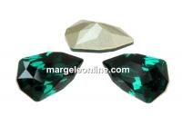 Swarovski, fancy rivoli Slim Trilliant, emerald, 7.8mm - x2