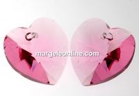 Swarovski, pandantiv inima, light rose, 10mm - x2