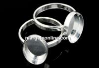 Baza inel argint 925, cabochon oval 14x10mm, interior 16.3mm - x1