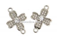 Link cruce cu cristale, argint 925 placat cu rodiu, 16.5mm  - x1