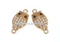 Link bufnita cu cristale, argint 925 placat cu aur roz, 14mm  - x1