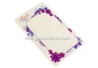 Carton martisor, flori mov, 9x5.4cm- x50