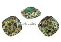 Swarovski, fancy square, emerald gold patina, 12mm - x1