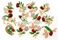 Brosa martisor, mix flori cu cristale - x12  - (1set)