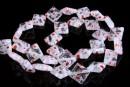Margele sticla Millefiori, romb, transparent cu rosu, 13x13mm