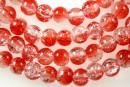 Margele sticla crackle, rosu-alb, 6.5mm - x140